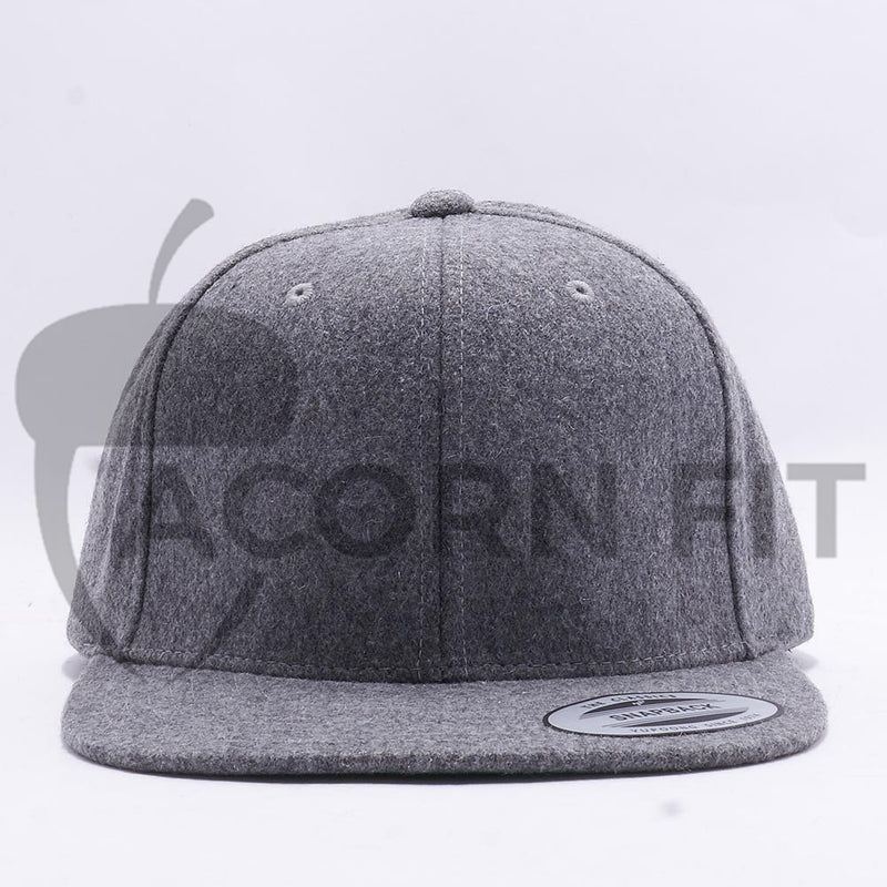 Heather Grey Melton Wool Snapback Hat