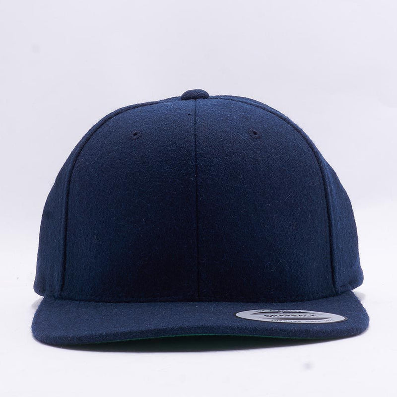 Navy Melton Wool Snapback Hat