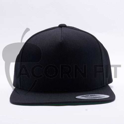Yupoong Blank Black 5 Panel Snapback Hats Caps