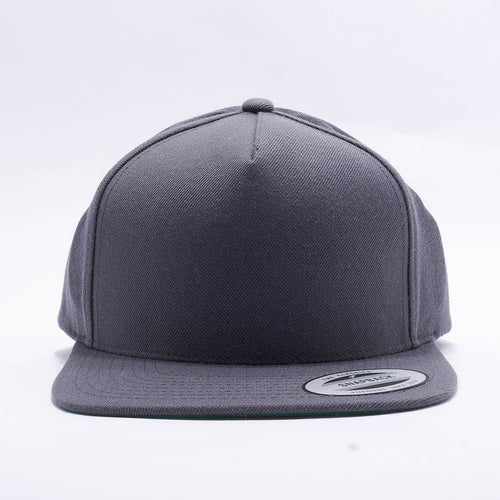 Yupoong Blank Grey 5 Panel Snapback Hats Caps