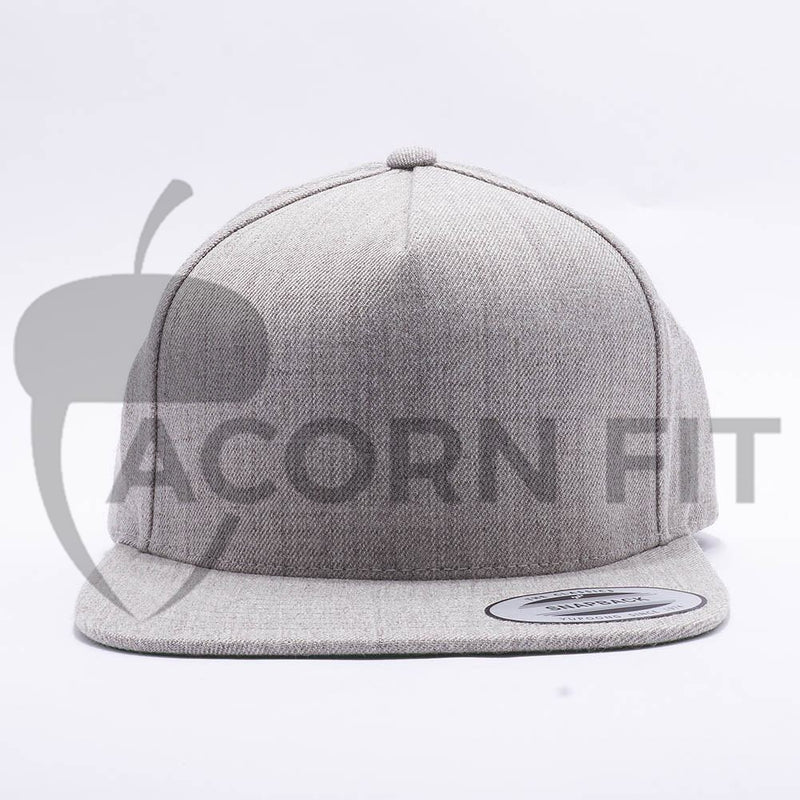 Yupoong Blank Heather Grey 5 Panel Snapback Hats Caps