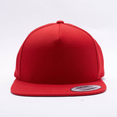 Yupoong Blank Red 5 Panel Snapback Hats Caps
