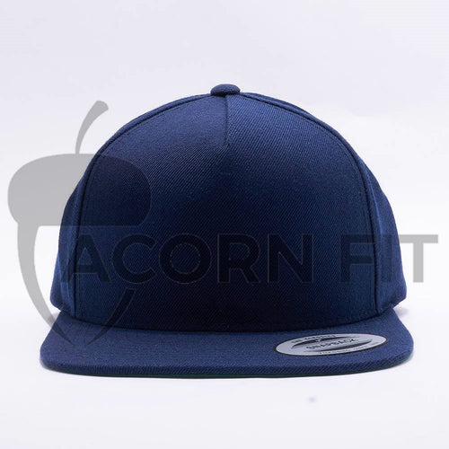 Yupoong Blank Navy 5 Panel Snapback Hats Caps