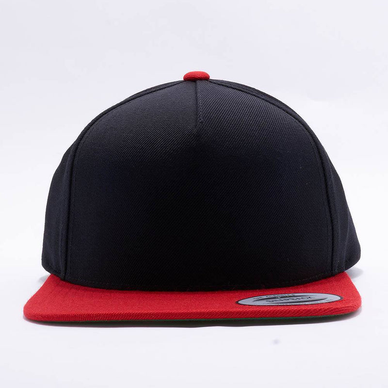 Yupoong Blank Black Red Two Tone 5 Panel Snapback Hats Caps