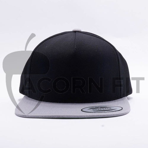 Yupoong Blank Black Silver Two Tone 5 Panel Snapback Hats Caps
