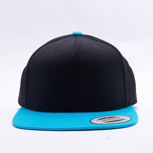 Yupoong Blank Black Teal Two Tone 5 Panel Snapback Hats Caps