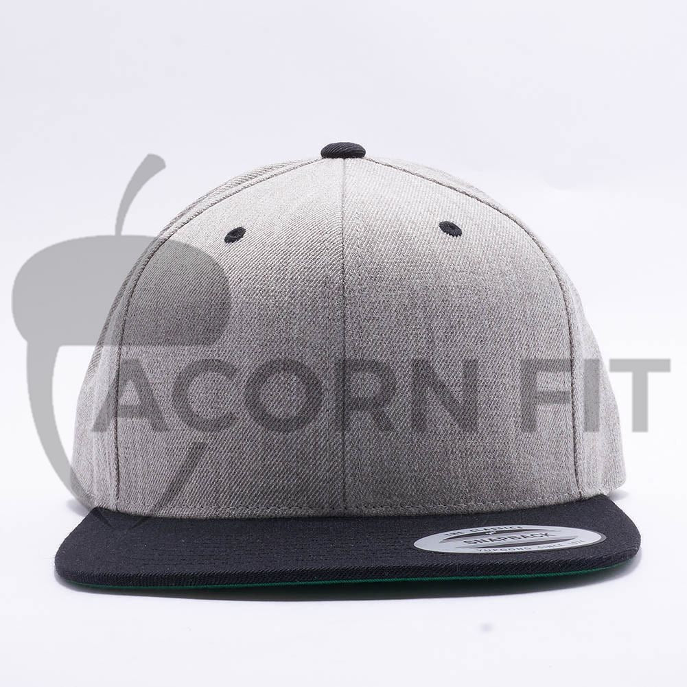 Wholesale Yupoong 6089MT Classic Snapback  Heather Black  – Acorn Fit 7f02f5e1823