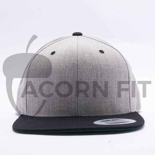 Yupoong Classic Blank Heather Grey Black Snapback