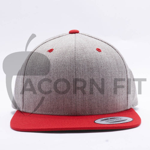 Yupoong Classic Blank Heather Grey Red Snapback