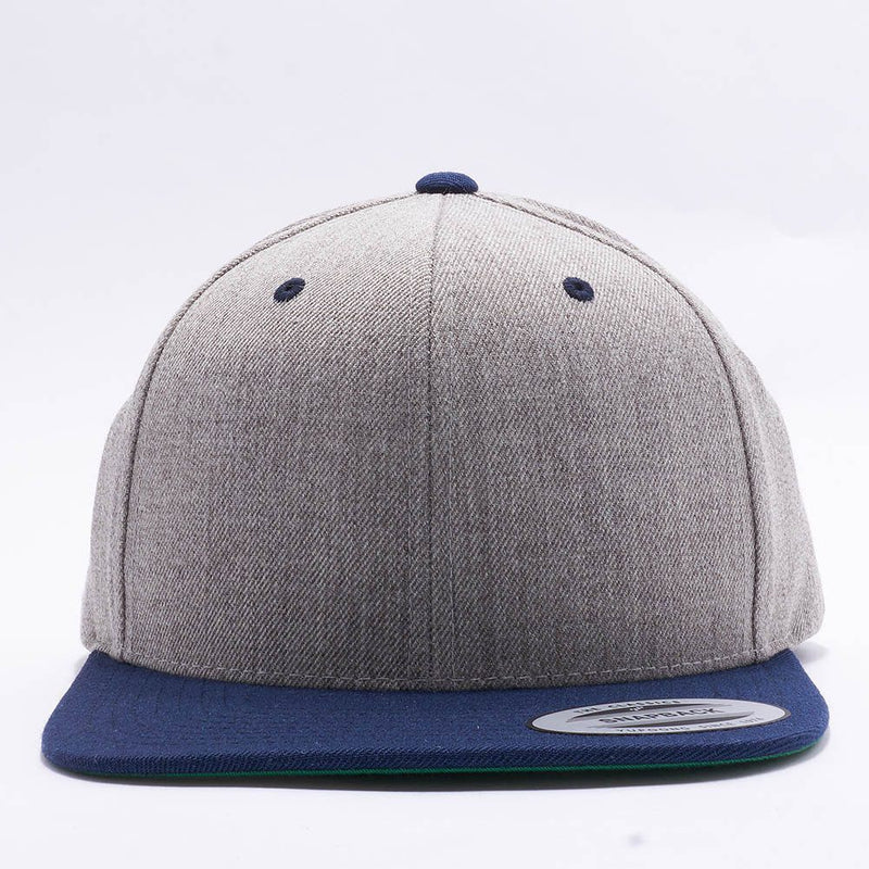 Yupoong Classic Blank Heather Grey Navy Snapback