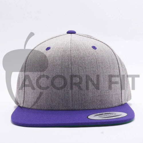 Yupoong Classic Blank Heather Grey Purple Snapback