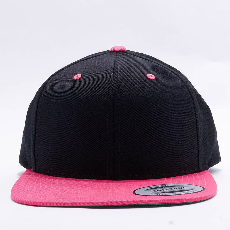 Yupoong Classic Blank Black Neon Pink Snapback