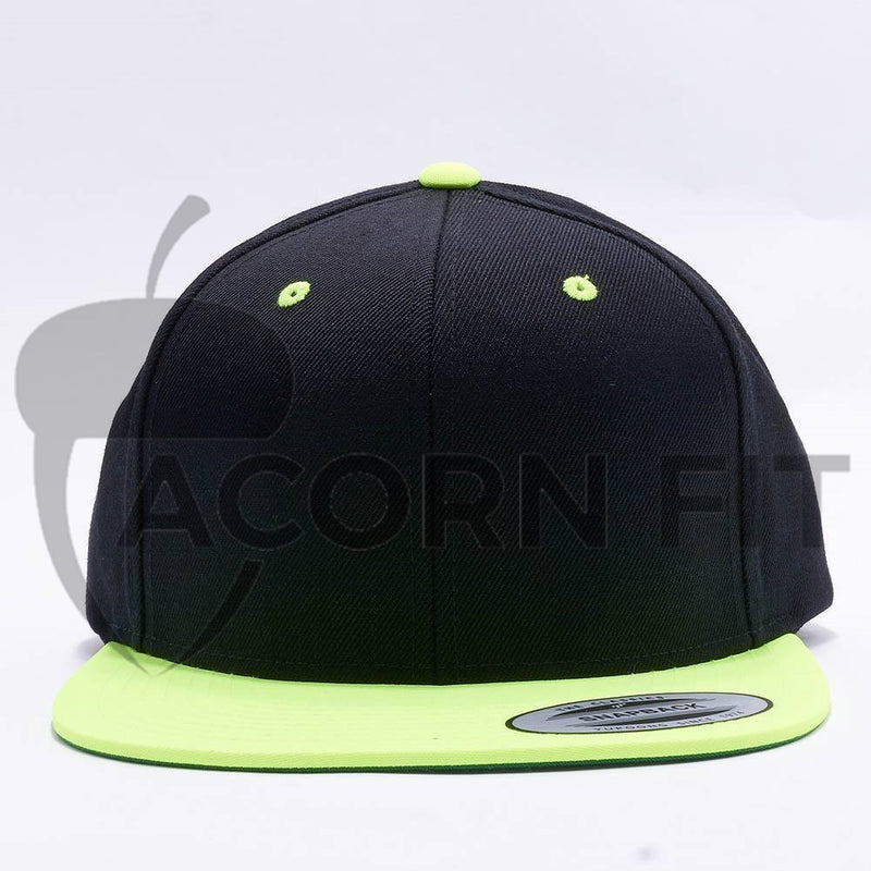 Yupoong Classic Blank Black Neon Green Snapback