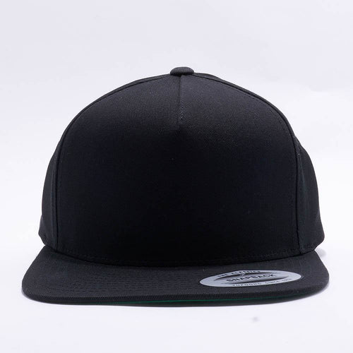 Yupoong Blank Black 5 Panel Snapbacks