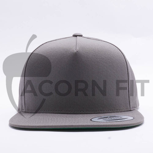 Yupoong Blank Grey 5 Panel Snapbacks