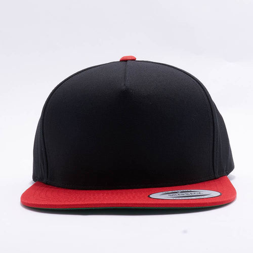 Yupoong Blank Black Red 5 Panel Snapback