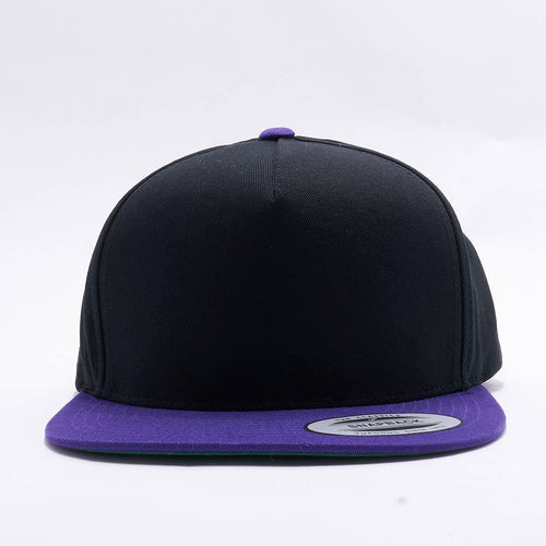 Yupoong Blank Black Purple 5 Panel Snapback