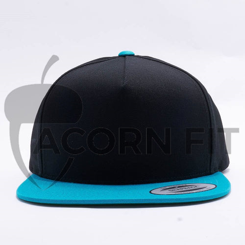 Yupoong Blank Black Teal 5 Panel Snapback
