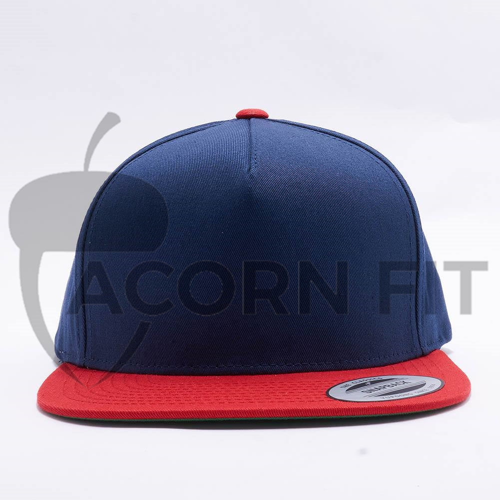 Wholesale Yupoong 6007T 5 Panel Cotton Snapback  Navy Red  – Acorn Fit 0ed70ee8e1e