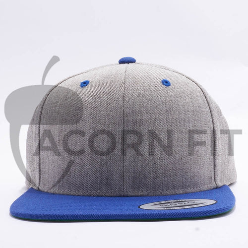 Yupoong Classic Blank Heather Grey Royal Snapback