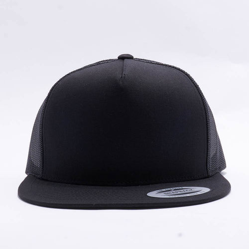 Yupoong Black 5 Panel Trucker