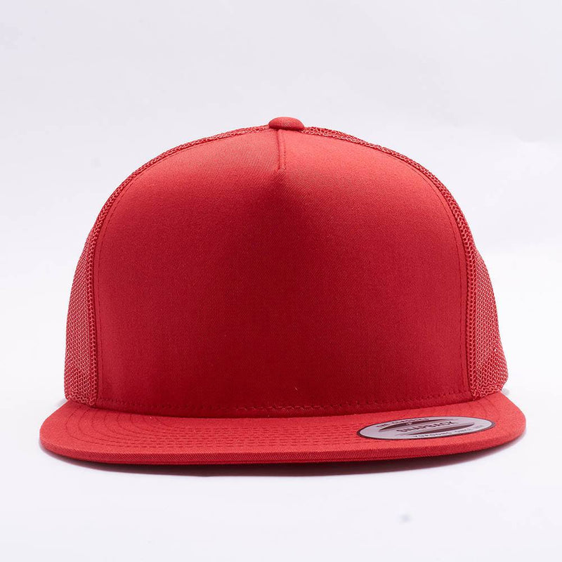 Yupoong Red 5 Panel Trucker