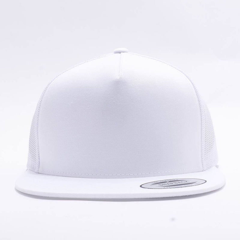 Yupoong White 5 Panel Trucker