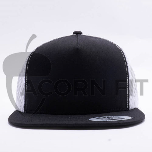 Yupoong Black White 5 Panel Trucker