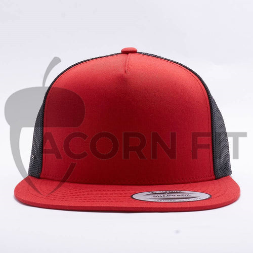 Yupoong Red Black 5 Panel Trucker