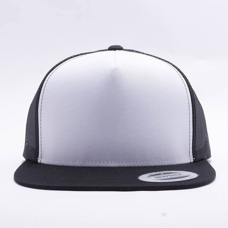 Yupoong White Black 5 Panel Trucker