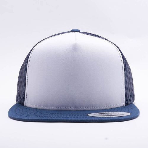 Yupoong White Navy 5 Panel Trucker