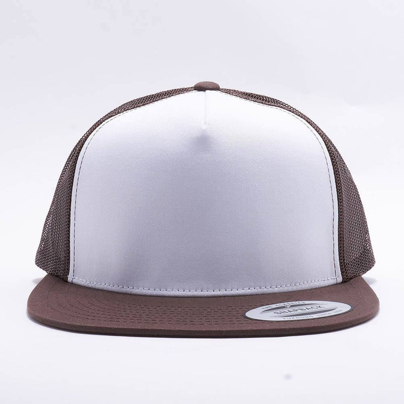 Yupoong White Brown 5 Panel Trucker