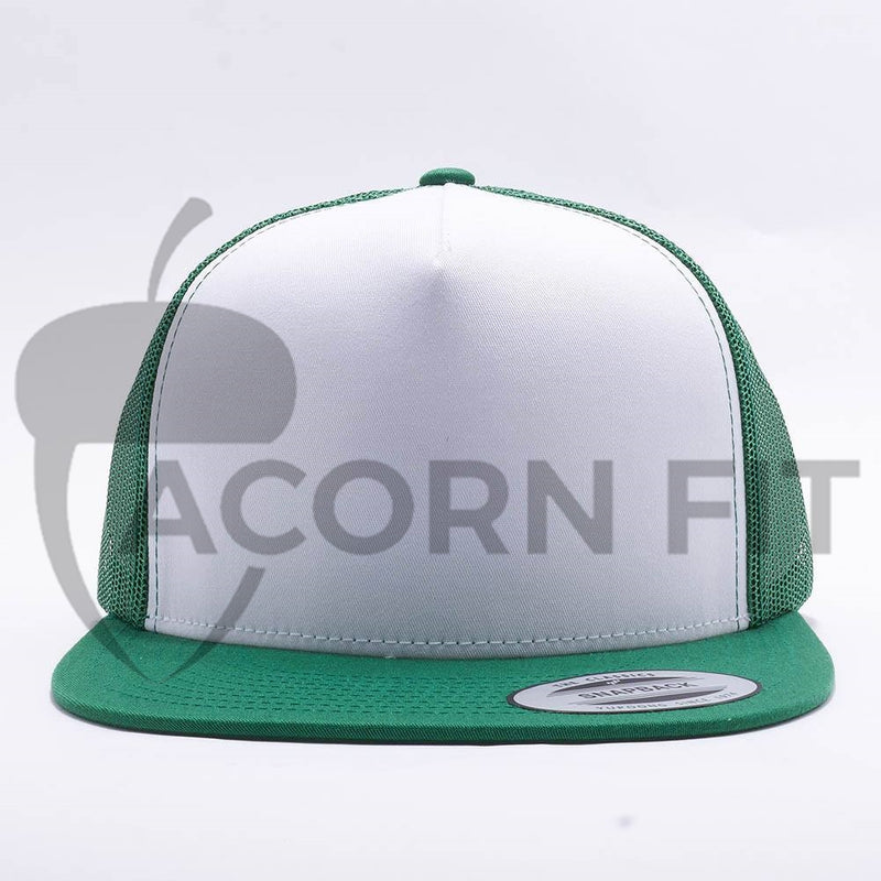 Yupoong White Kelly Green 5 Panel Trucker
