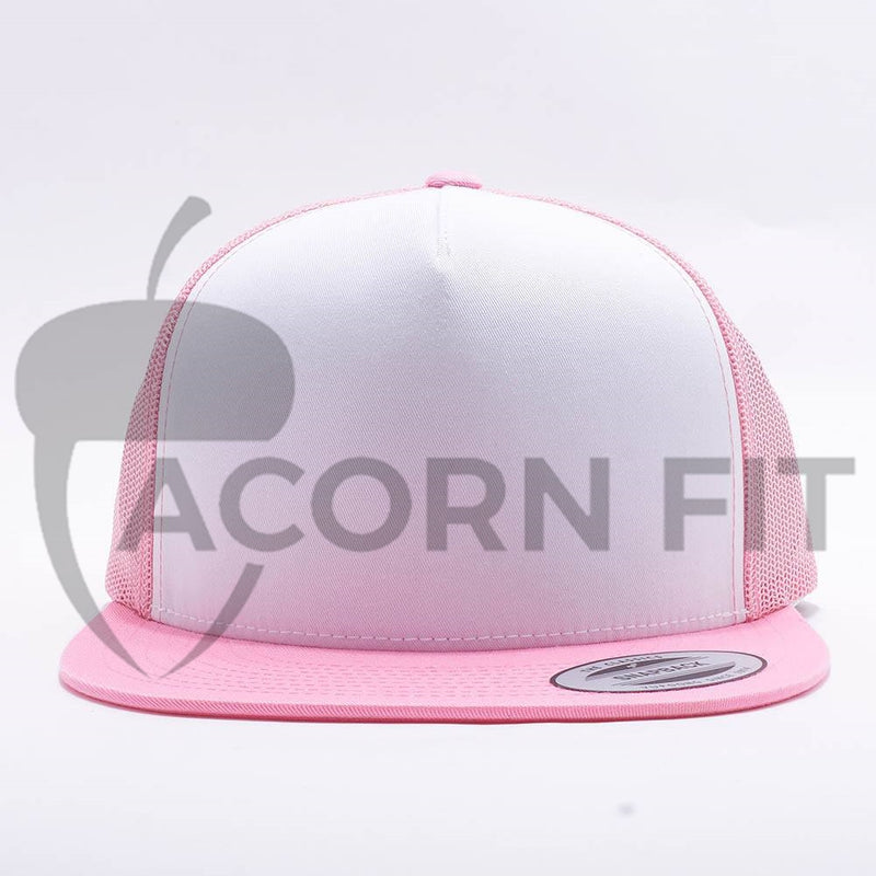 Yupoong White Pink 5 Panel Trucker