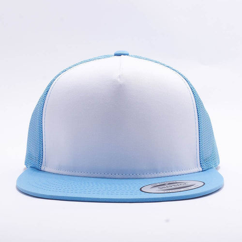 Yupoong White Sky Blue 5 Panel Trucker