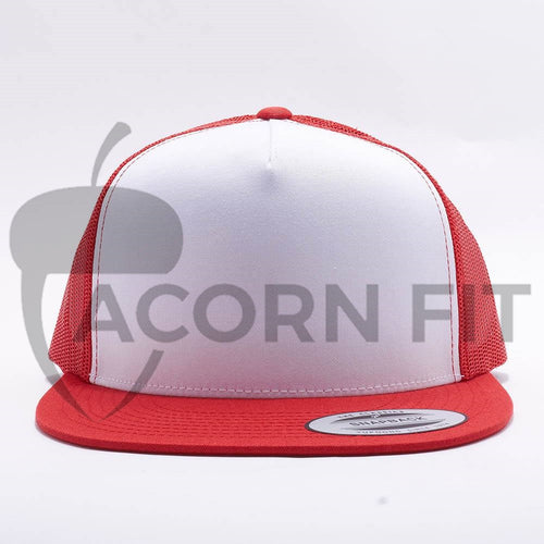 Yupoong White Red 5 Panel Trucker