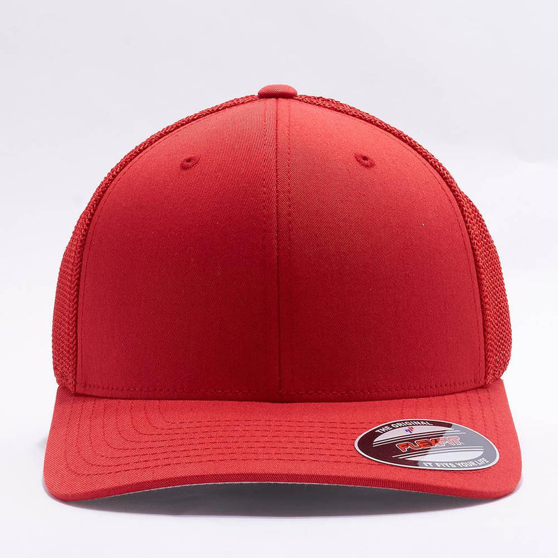 Red Flexfit Trucker Mesh Hat
