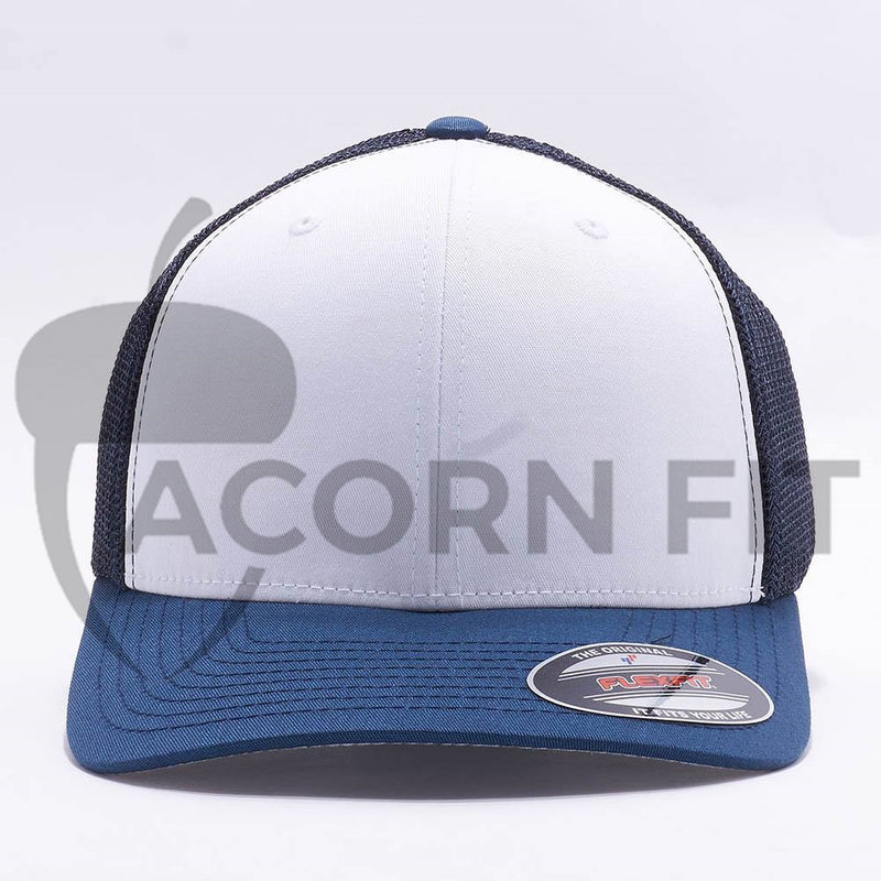 White Navy Flexfit Trucker Mesh Hat