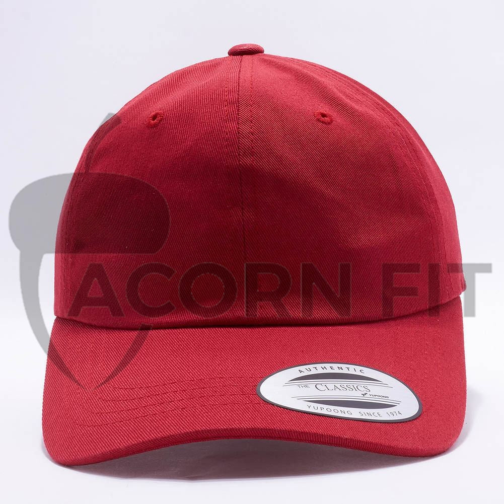 429f348ac36 Wholesale Yupoong 6245CM Cotton Twill Dad Hat  Cranberry  – Acorn Fit