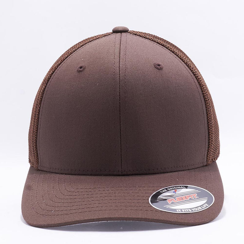 Brown Flexfit Trucker Mesh Hat