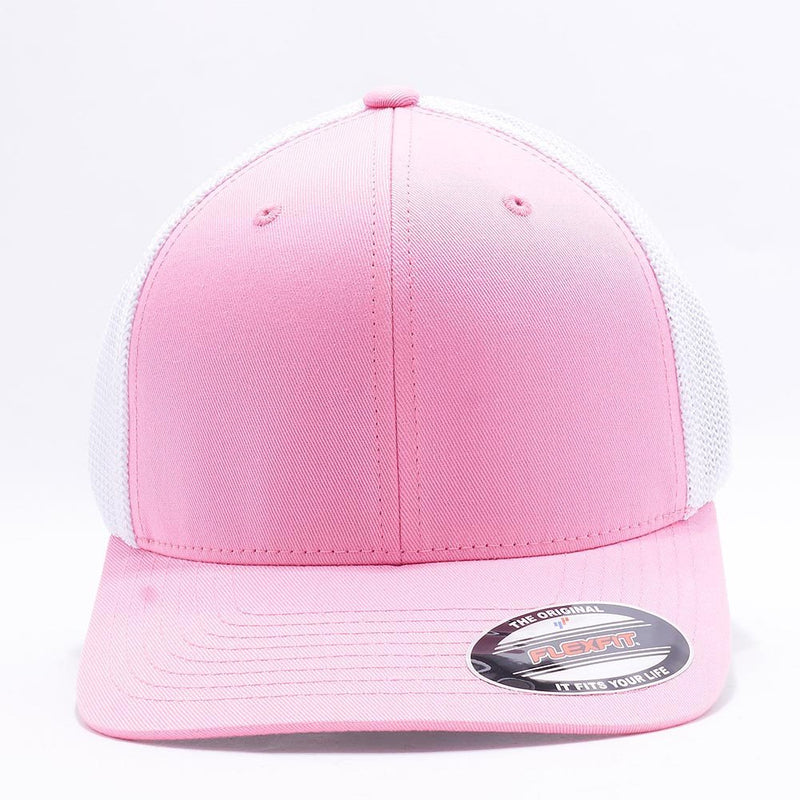 Pink White Flexfit Trucker Mesh Hat