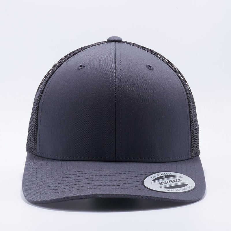 Yupoong 6606 Charcoal Classics Retro Trucker Hats Caps Wholesale Custom - Acorn Fit
