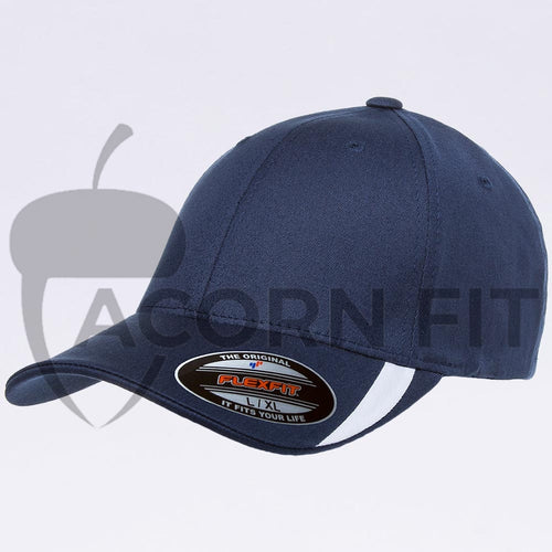 Wholesale Flexfit - 5006 Navy White V-Flexfit Sweep Profiled Hat