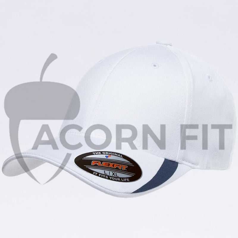 Wholesale Flexfit - 5006 White Navy V-Flexfit Sweep Profiled Hat