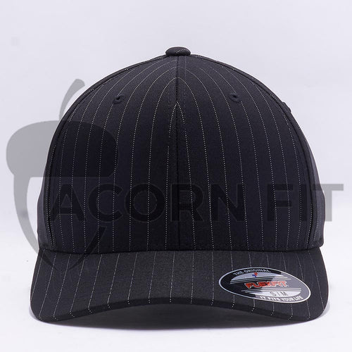 Wholesale Flexfit 6195P Pinstripe Hat Black