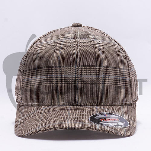 Wholesale Flexfit 6196 Glen Check Hat Brown Khaki