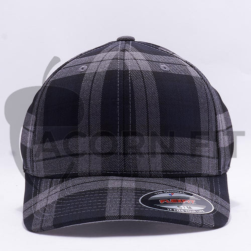 Wholesale Flexfit 6197 Tartan Plaid Hat Black Grey