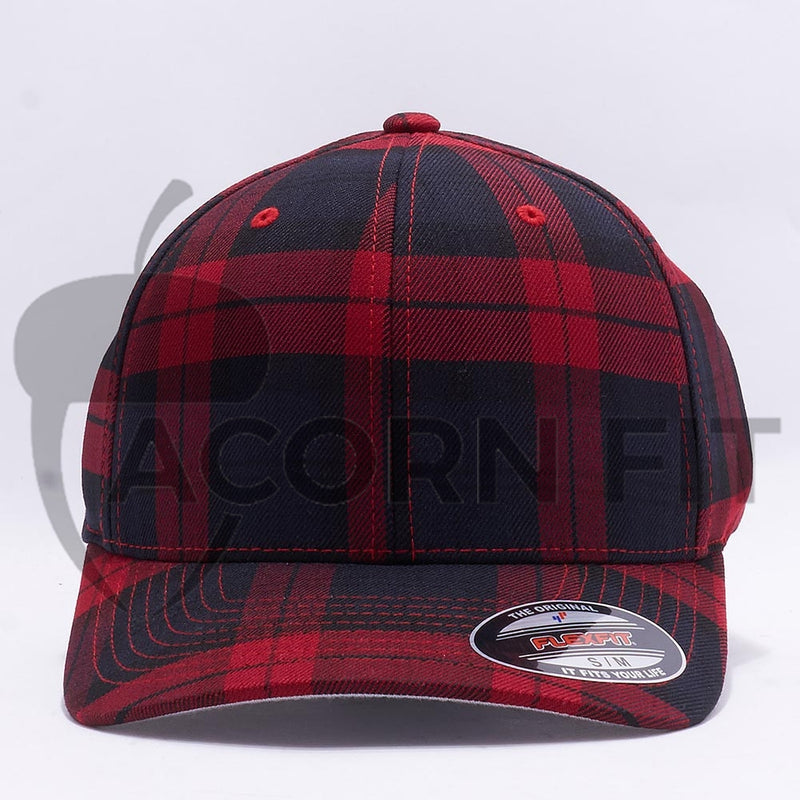 Wholesale Flexfit 6197 Tartan Plaid Hat Black Red