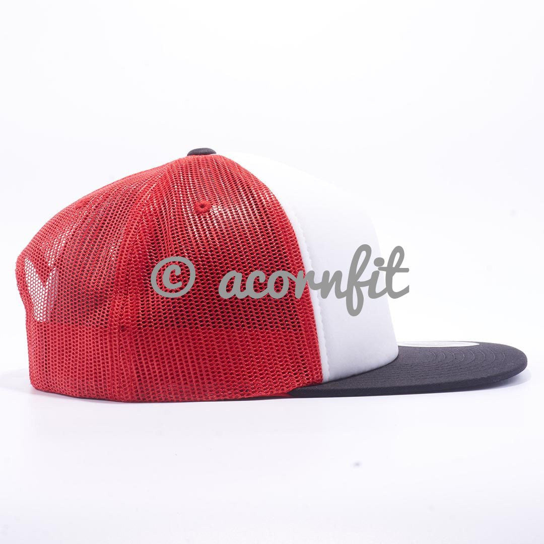 ... Wholesale Yupoong 6005 Black White Red Foam Trucker Hats - Acorn Fit ... 7687719f240