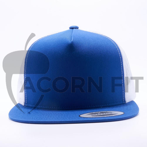Yupoong 6006T Royal and White Two Tone Classic Trucker Hats Caps Wholesale Custom - Acorn Fit